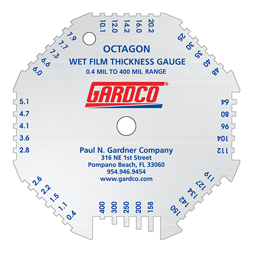 Octagon Wet Film Thickness Gauge with Gardco Logo Mil